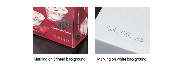 Which are better at marking on preprinted boxes, laser markers or ink jet printers?